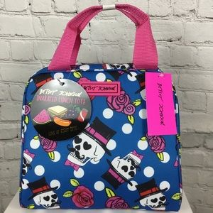 NWT Betsey Johnson Blue Skulls Lunch Bag